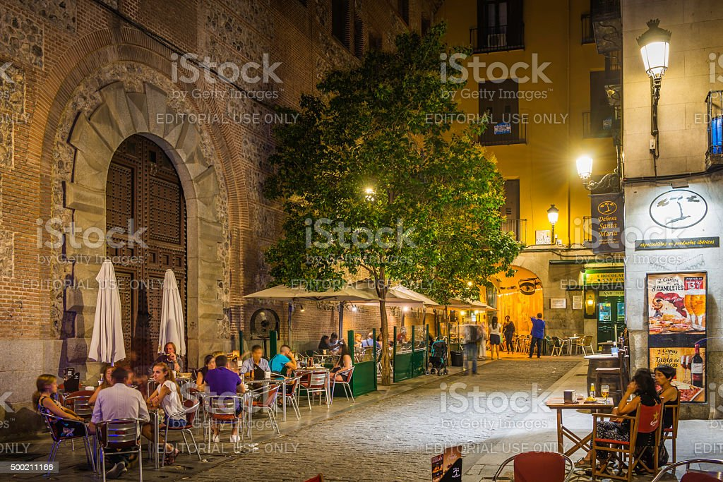 Madrid People Relaxing At Outdoor Restaurant Bars Warm Night Spain Stock Photo Download Image Now Istock