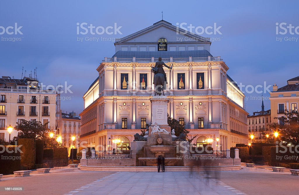 Madrid - Philip IV of Spain memorial and Opera royalty-free stock photo