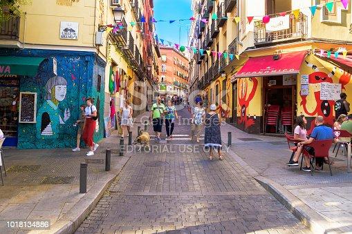 Madrid, Spain - August 10, 2018: People walking in the Lavapies neighborhood of Madrid