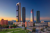 Image of Madrid, Spain financial district with modern skyscrapers during sunset.