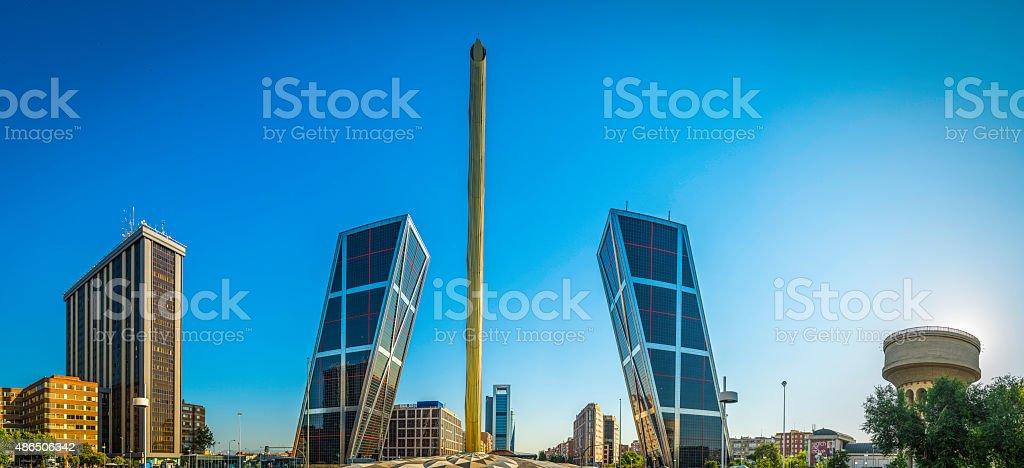 Madrid Plaza de Castilla Puerta de Europa skyscrapers panorama Spain stock photo