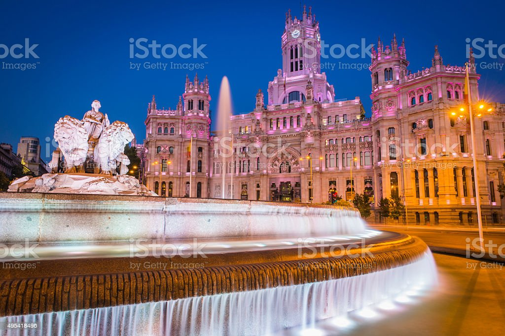 Madrid Plaza de Cibeles and Palacio de Comunicaciones illuminated Spain stock photo