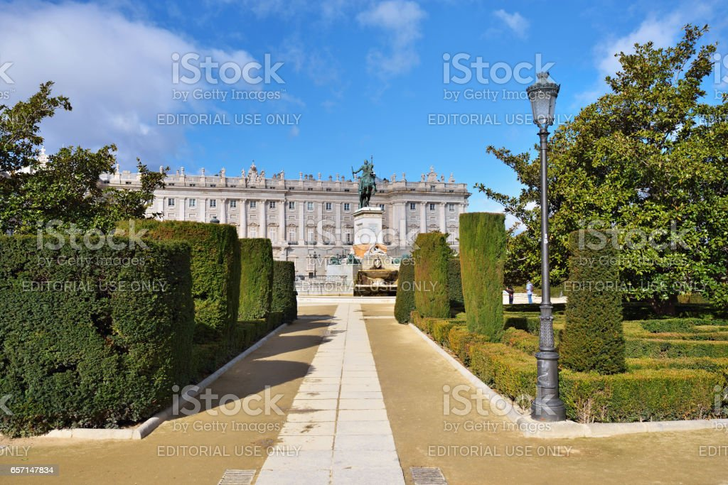 Madrid, Plaza de Oriente Central Gardens stock photo