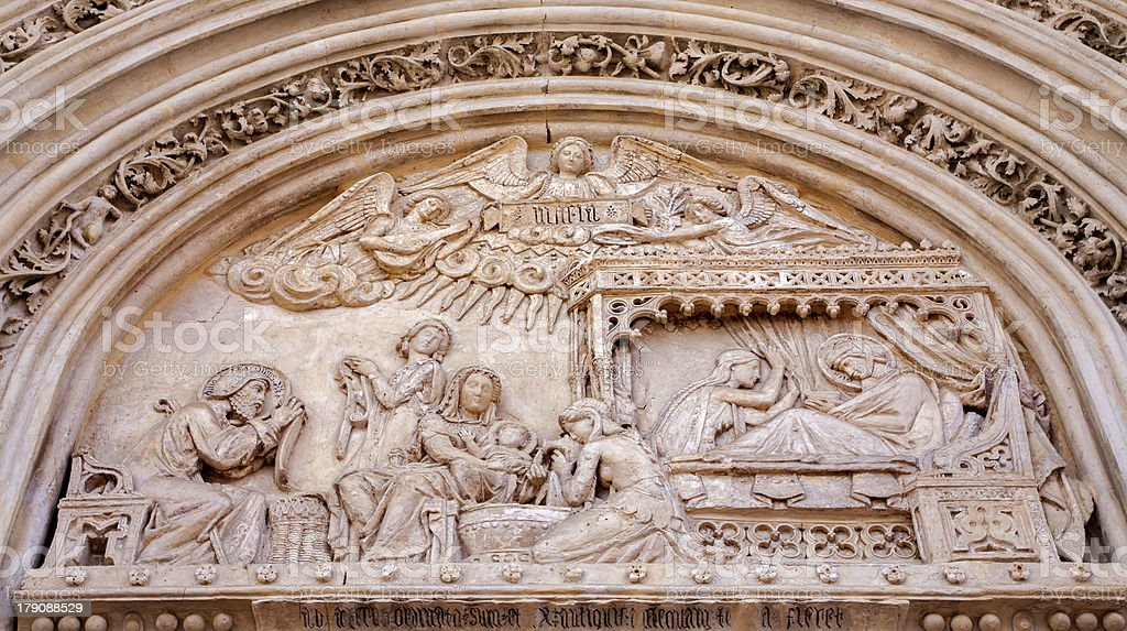 Madrid -  relief of Nativity scene on church San Jeronimo stock photo