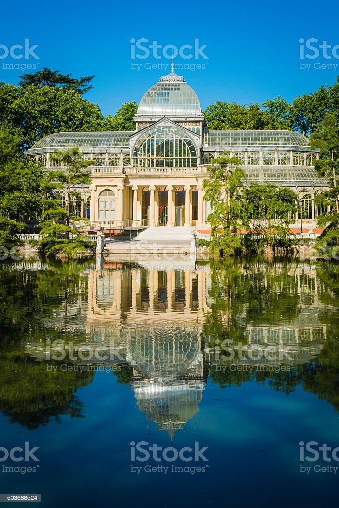 Madrid Retiro Park Palicio de Cristal reflecting tranquil lake Spain stock photo