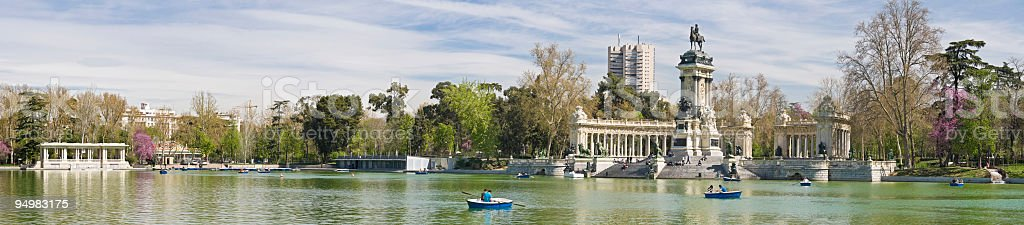 Madrid Retiro Park panorama stock photo