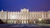 Madrid - Royal palace in dusk