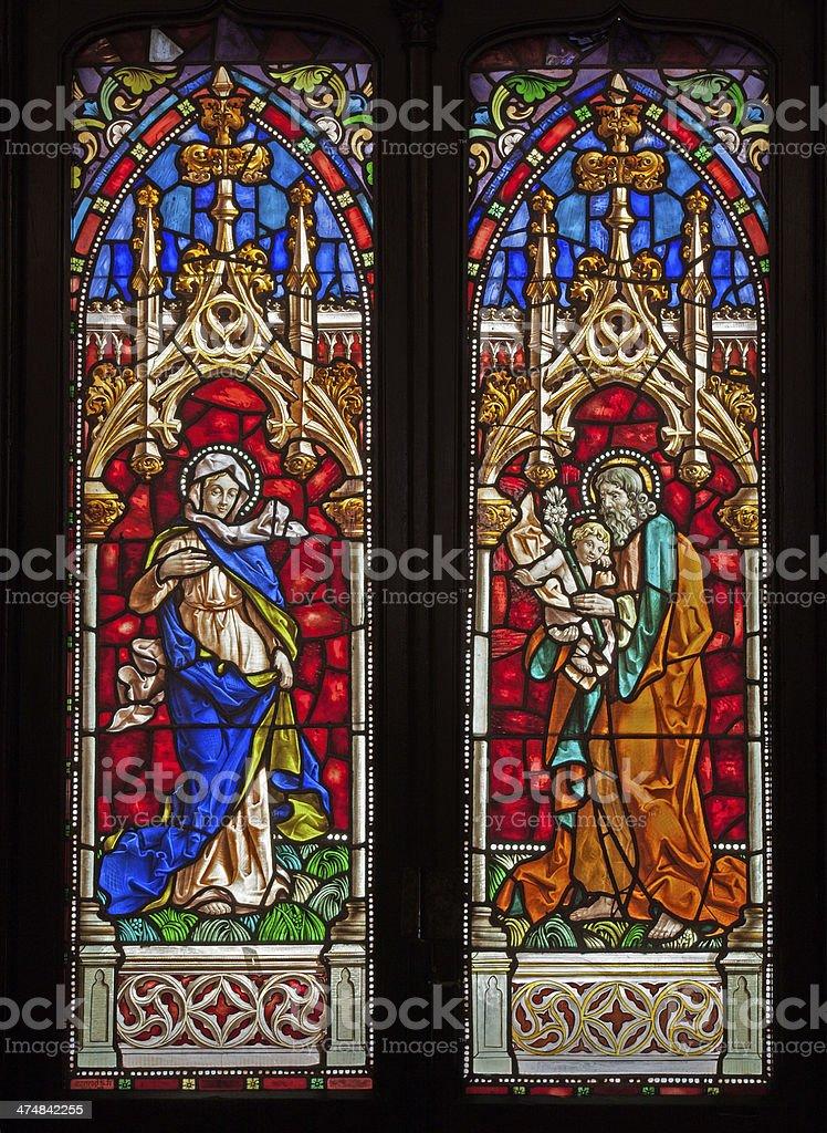 Madrid - Saint Joseph and Mary in church San Jeronimo stock photo