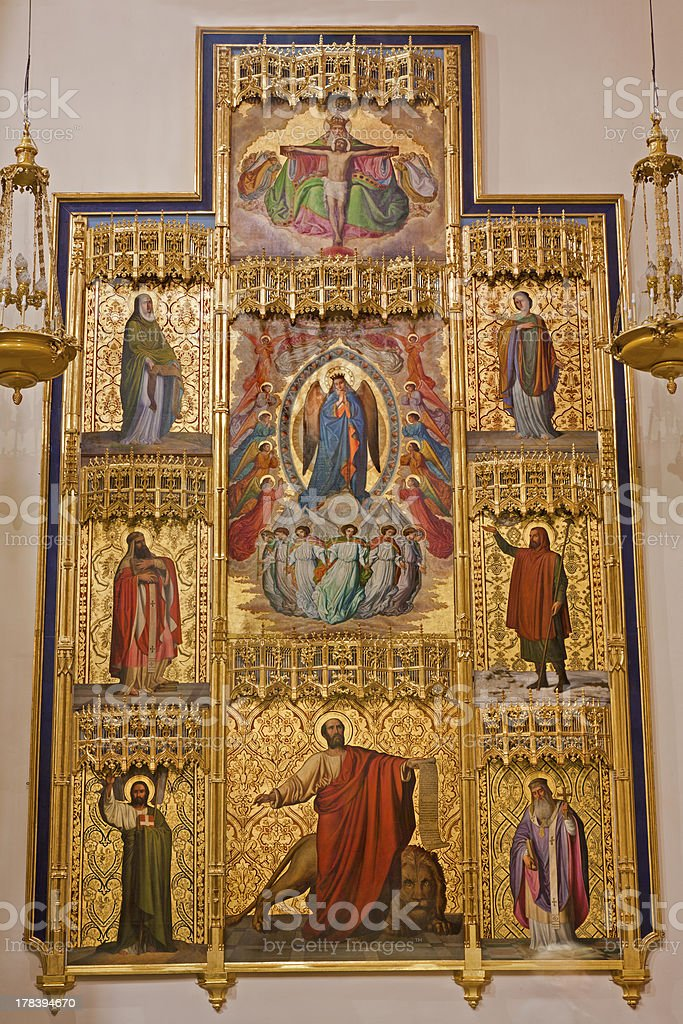 Madrid - Side altar from San Jeronimo el Real stock photo