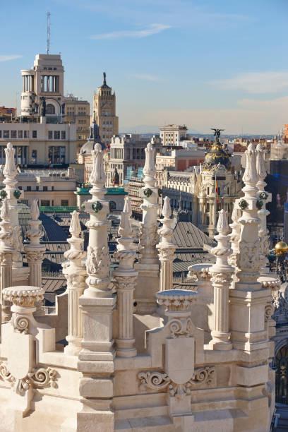 Madrid Skyline Stadtzentrum. Traditionelle Gebäude in der Innenstadt. Tourismus in Spanien – Foto