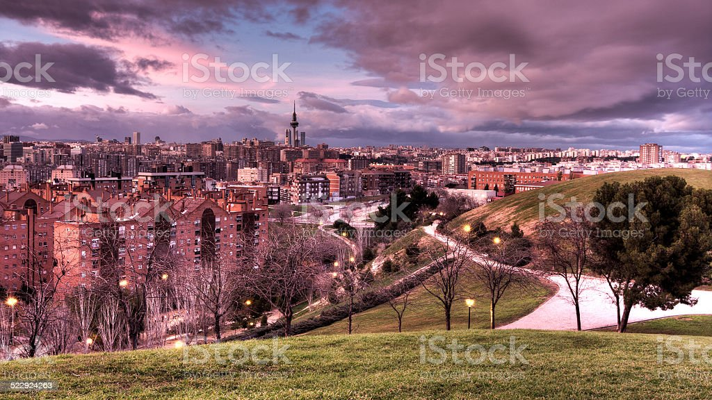 Madrid skyline with buildings and park stock photo