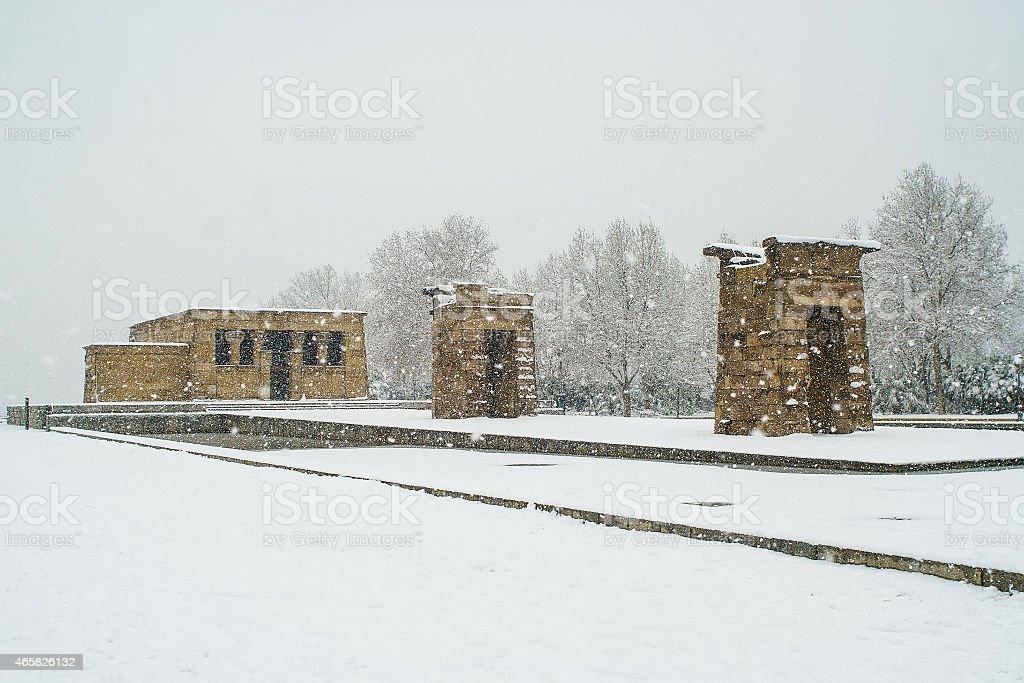 madrid snowy stock photo