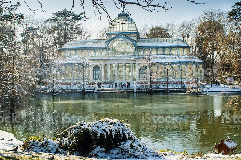 madrid snowy stock photo
