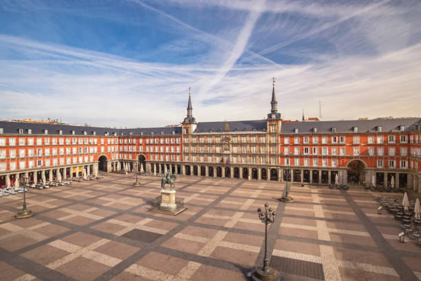 Madrid Spain, aerial view city skyline at Plaza Mayor empty nobody
