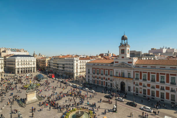 Madrid Spain, aerial view city skyline at Puerta del Sol stock photo