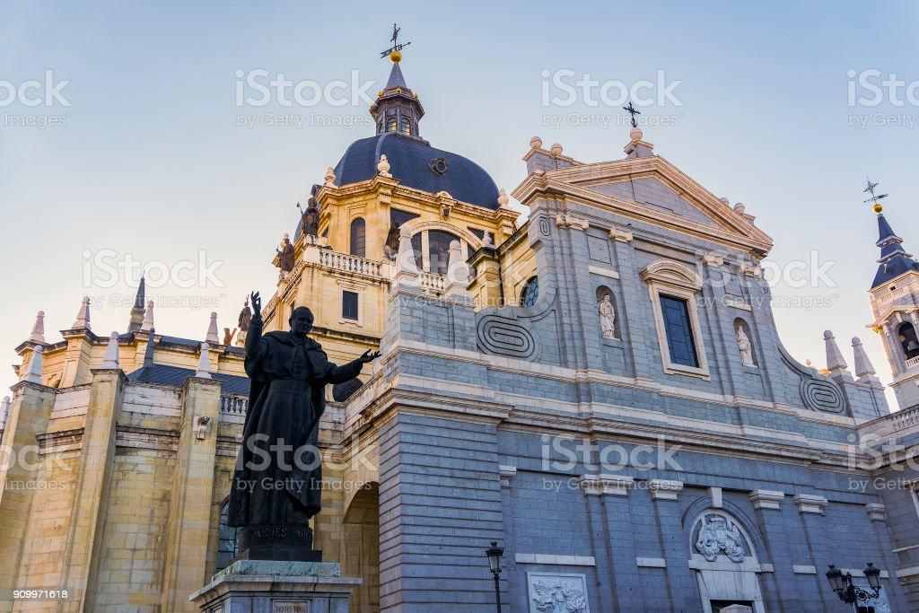 Madrid, Spain Catedral de Santa Maria La Real de La Almudena facade. stock photo