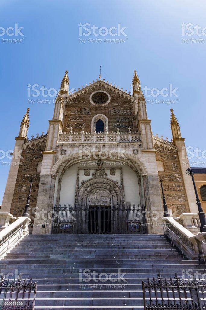 Madrid, Spain church San Jeronimo el Real facade. stock photo