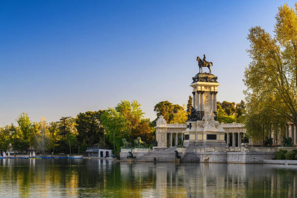 Madrid Spain, city skyline at El Retiro Park