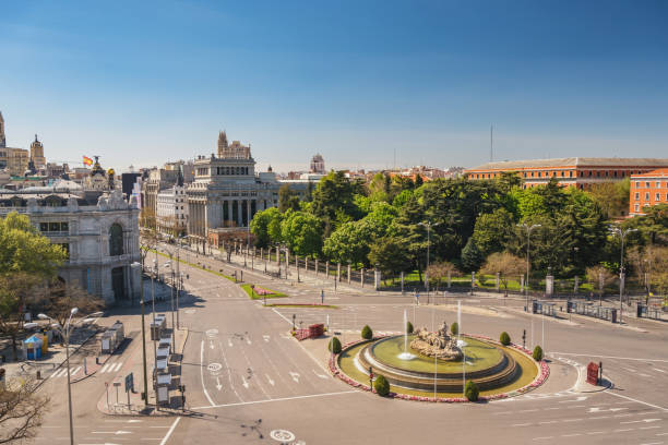 Madrid Spain, city skyline at Independence Square and Cibeles Fountain nobody empty stock photo