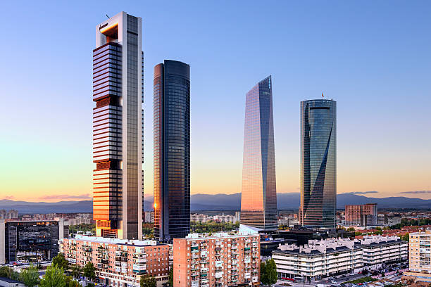 madrid, spain financial district - madrid stok fotoğraflar ve resimler