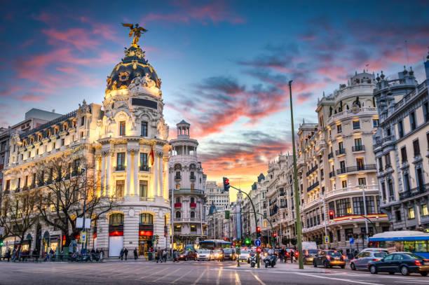 Madrid Spain on Gran Via stock photo