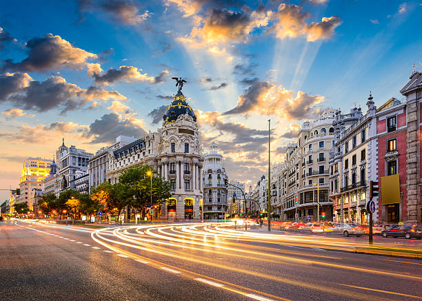 Madrid Spain on Gran Via stock photo