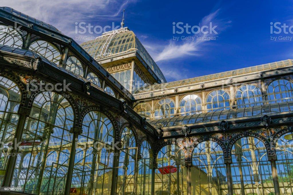 Madrid, Spain Palacio de Cristal iron framework external view detail. stock photo