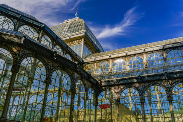 Madrid, Spain Palacio de Cristal iron framework external view detail. stock photo