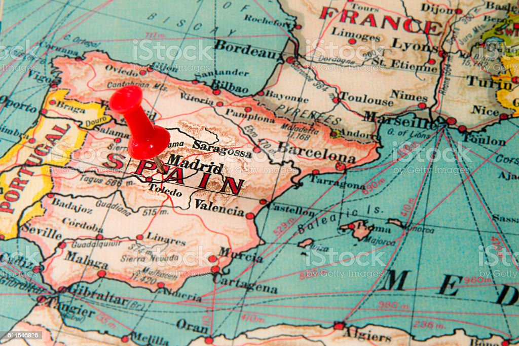 Madrid Spain Pinned On Vintage Map Of Europe Stock Photo More