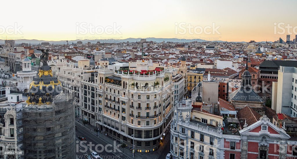 Madrid, Spain - Skyline during sunset stock photo