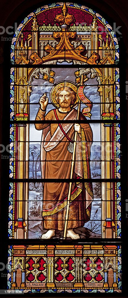 Madrid - St. John the Baptist from windowpane stock photo