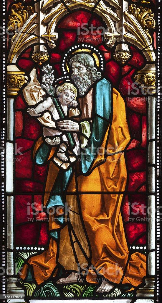 Madrid - St. Joseph from windowpane of church San Jeronimo stock photo