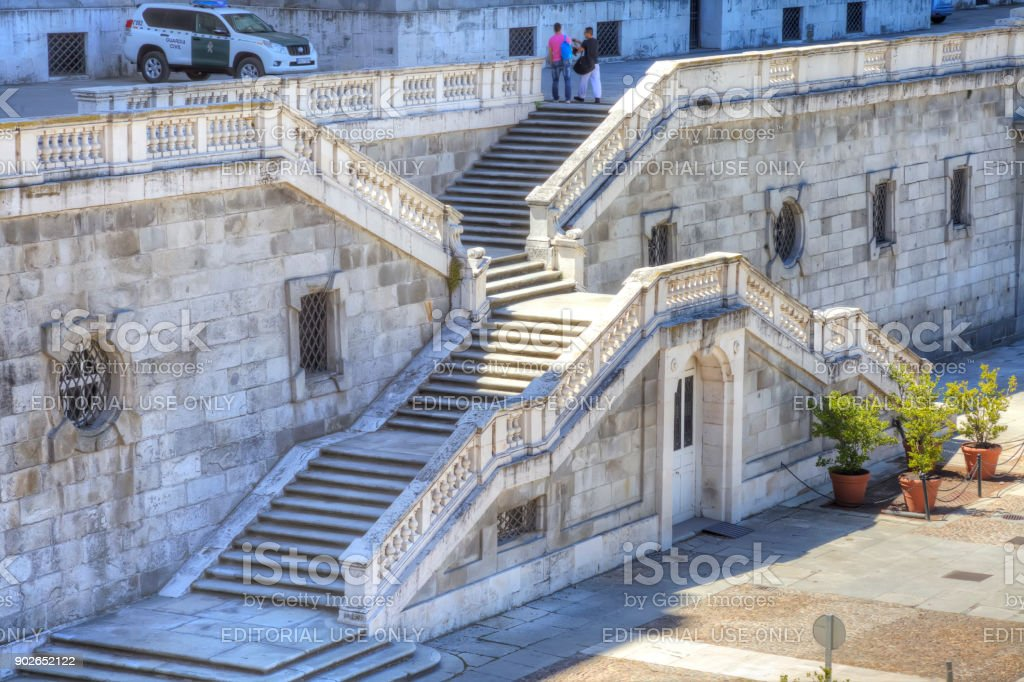Madrid. Stairs of the Royal Palace from the Sabatini Park stock photo