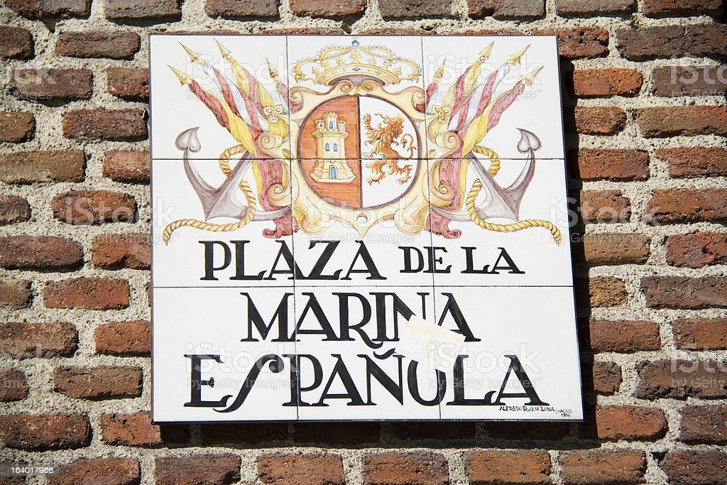 Madrid street sign tile, plaza de la marina espanola royalty-free stock photo