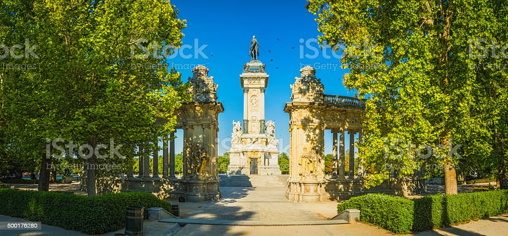 Madrid sunny summer morning in Parque de El Retiro Spain stock photo
