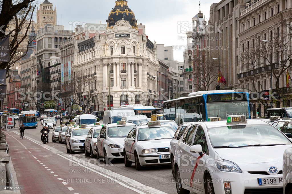 Madrid: Taxis and traffic on Alcala Street stock photo