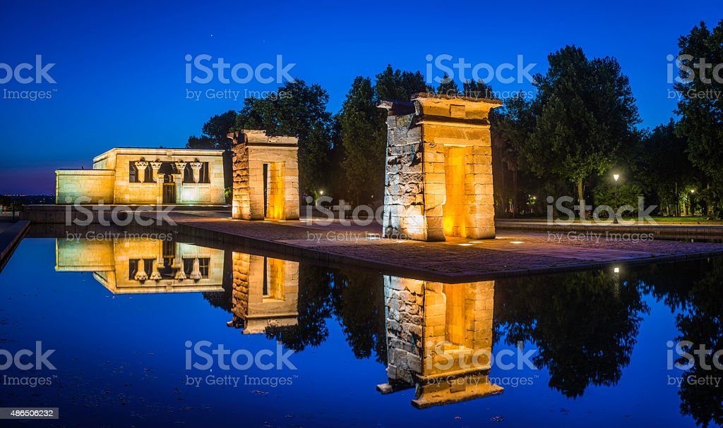 Madrid Templo de Debod ancient Egyptian temple spotlit panorama Spain stock photo