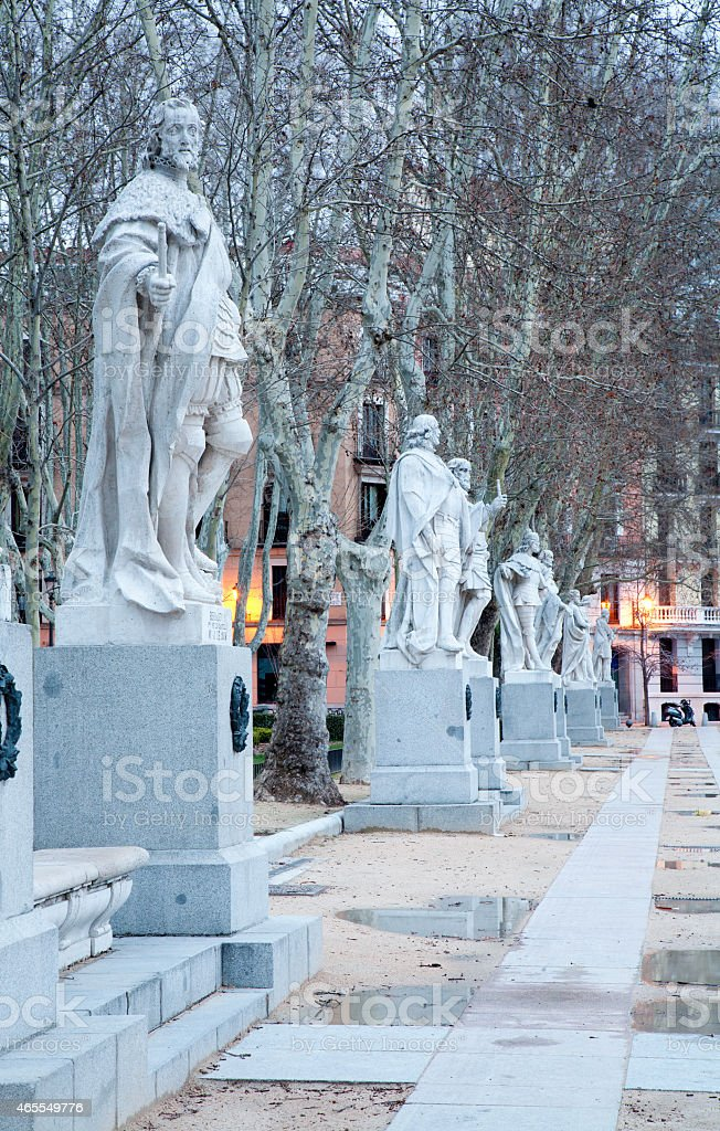 Madrid - The statues from Plaza de Oriente stock photo