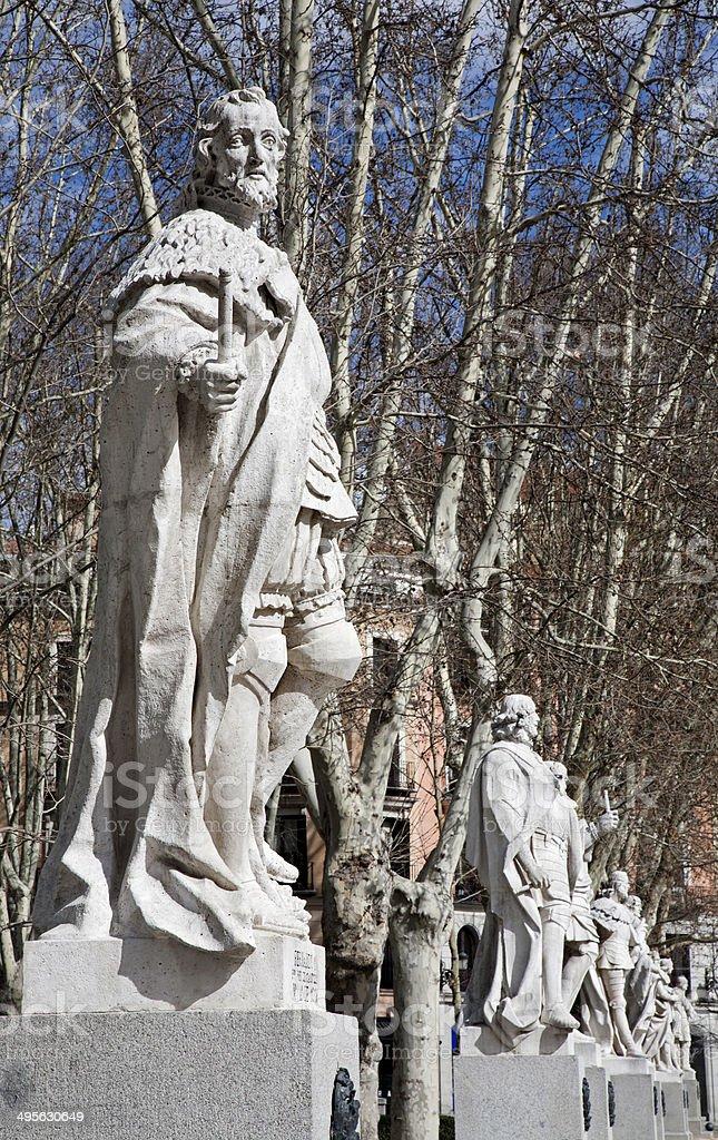 Madrid - The statues on Plaza de Oriente stock photo