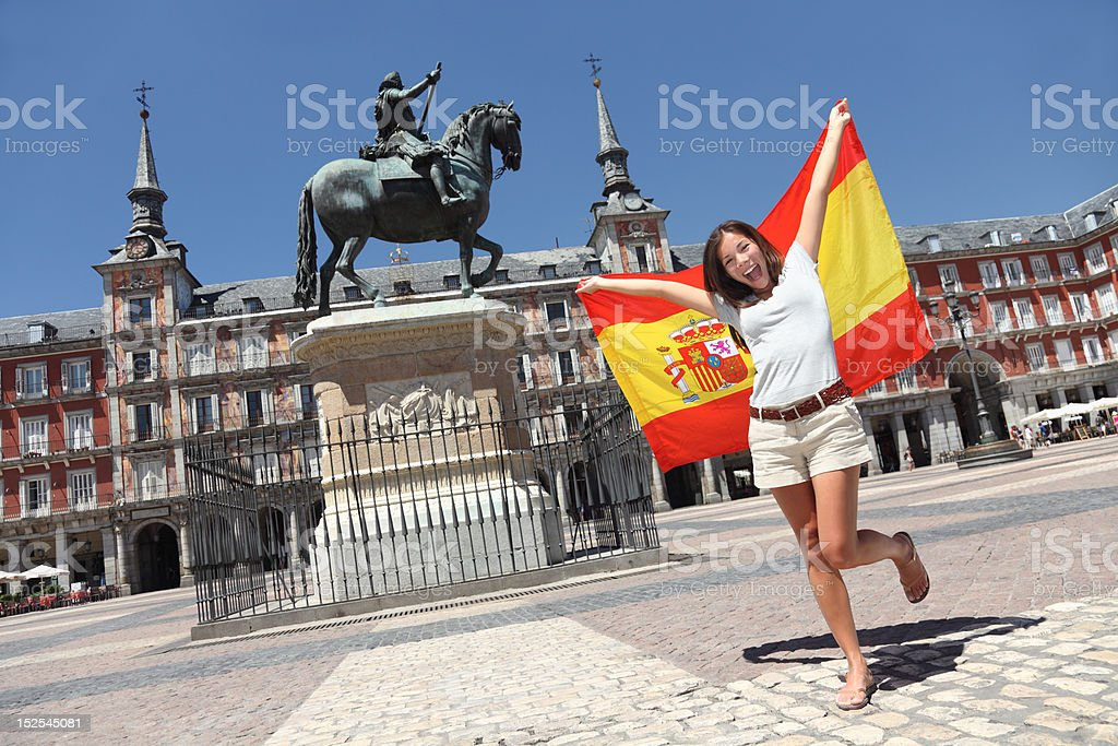 Madrid tourist spain flag stock photo