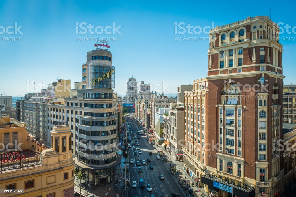 Madrid view along busy Calle Gran Via shopping street Spain stock photo