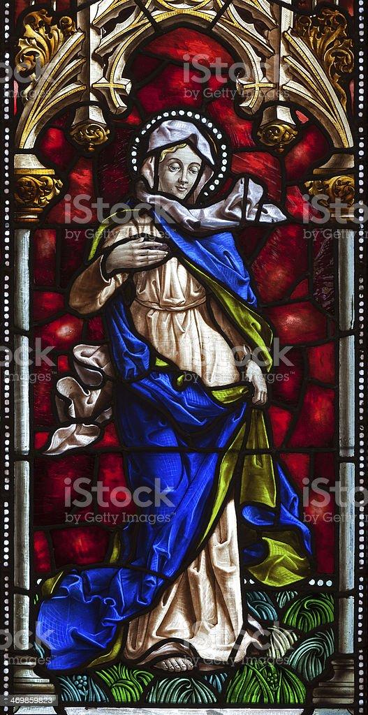 Madrid - Virgin Mary from windowpane of church San Jeronimo stock photo