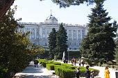 Madrid/Spain – 03.03.2019 : Royal garden near Royal Palace of Madrid