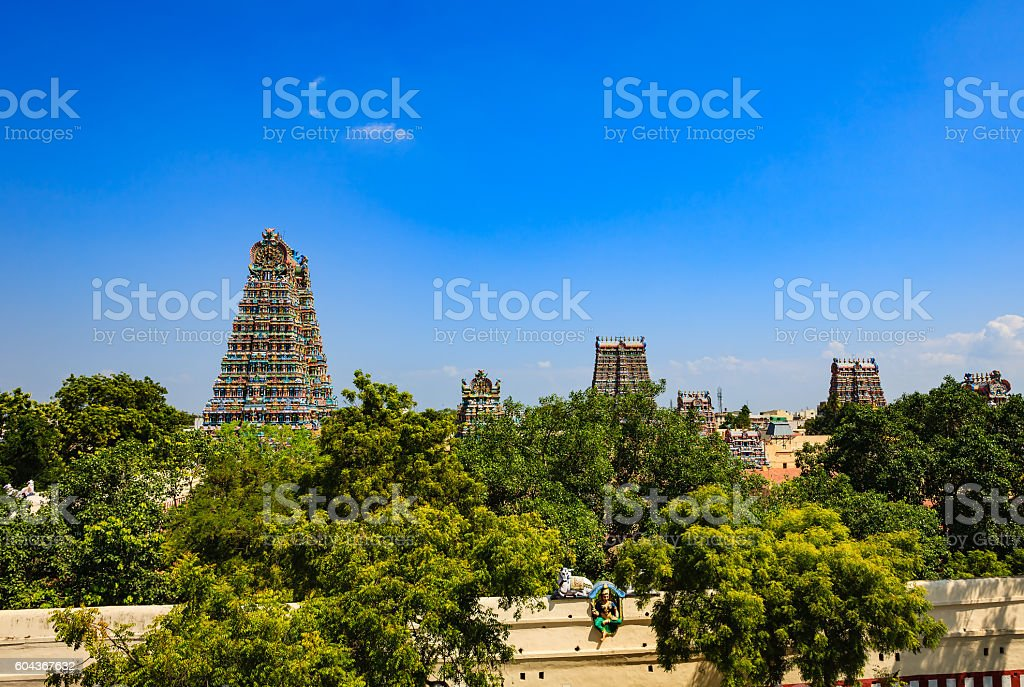 Madurai, India - Gopurams of the Meenakshi Amman Temple stock photo