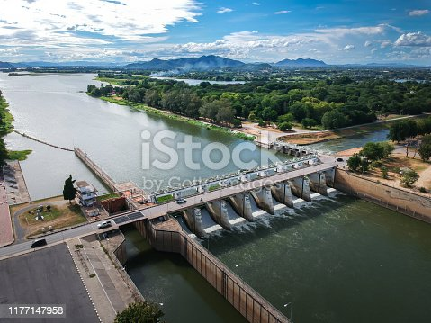 Mae klong dam,Tha  Muang, Kanchanaburi, Thailand.  Is a large irrigation dam of the Royal Irrigation Department in Thailand.