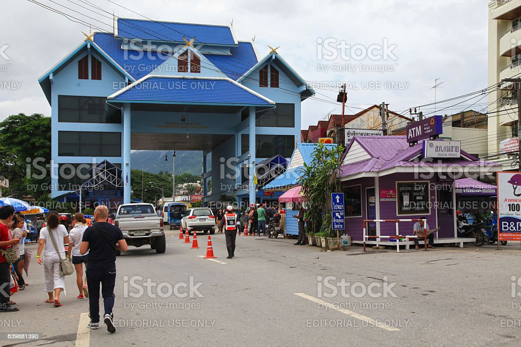 Mae Sai border checkpoint stock photo