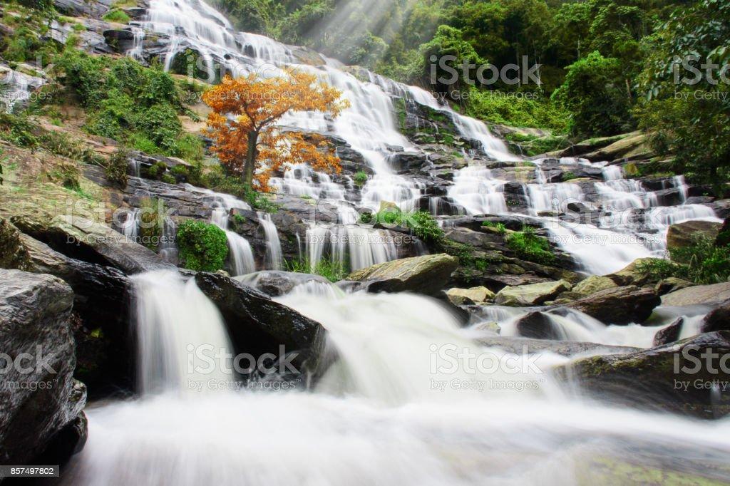 Mae Ya Waterfall, Chiang Mai, Thailand. stock photo