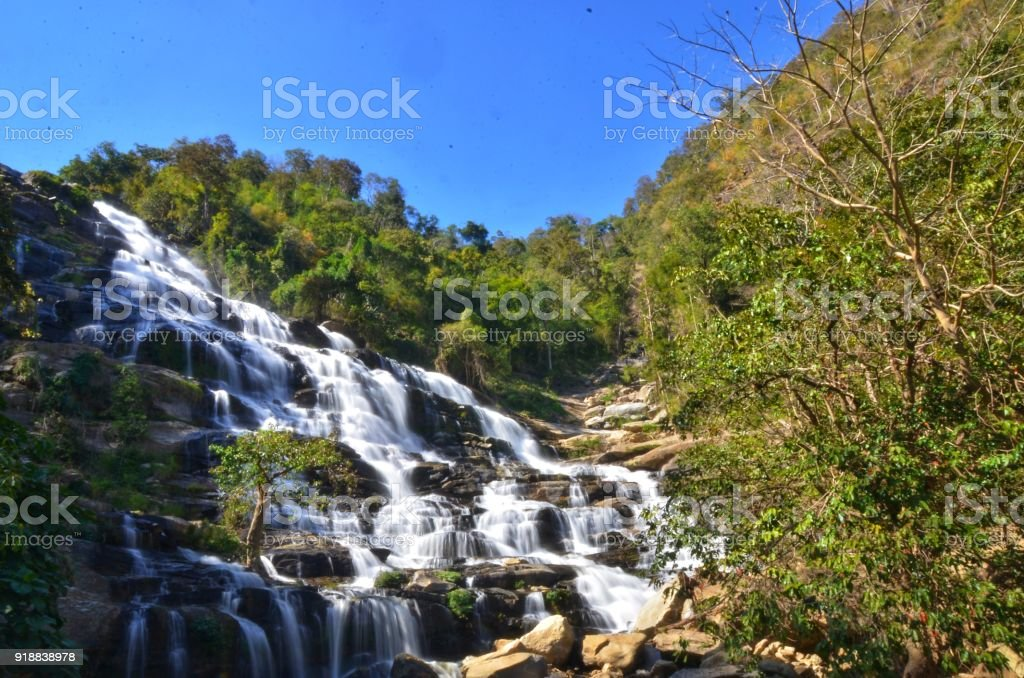 Mae Ya Waterfall in Chiangmai Thailand stock photo
