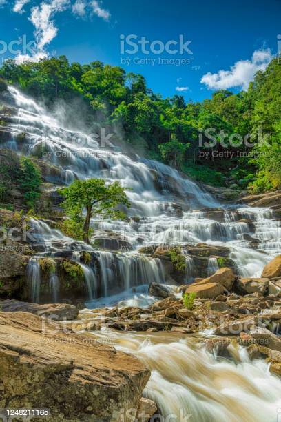 Photo of Mae Ya Waterfall in Doi Inthanon National Park, Chiang Mai, Northern Thailand. A 200 metre 30 storied waterfall.