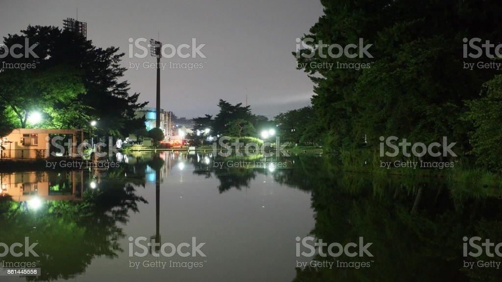 Maebashi-shi, Gunma de noche y Parque de Shikishima - foto de stock